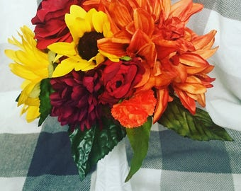 Fall wedding bouquet or centerpiece. Made to order! Sunflowers, Daliahs.