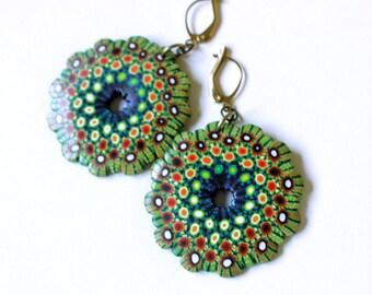 Mandala earrings, cool earrings, Polymer Clay, millefiori earrings, DIY earrings, handmade jewelry, wearable art, Fimo clay, OOAK earrings