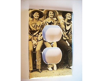 retro cowgirl outlet switch plate vintage Fifties rockabilly country western pin up cowboy  switch cover