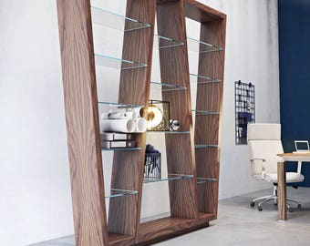 Glass bookcase,bookshelf, library,scaffolding board, cupboard, shelving system,glass storage,display cabinet,design furniture,living room,