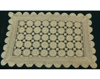 "31.5"" x 20"" Crochet Table Topper Runner Centerpiece Big Lace Crochet Oblong Doily Country Chic"