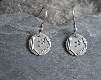 Oxidised silver petri dish earrings