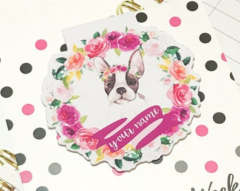 Personalised Magnetic Bookmark or Planner Bookmark. Flora and Fauna. Boston Terrier
