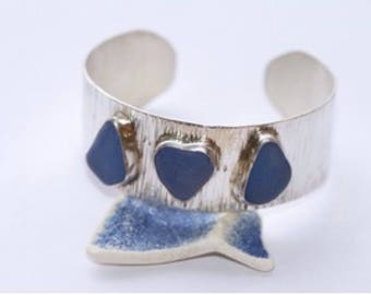 Cobalt blue sea glass sterling silver cuff bracelet