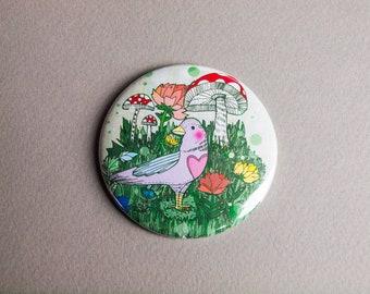 Woodland Bird Pocket Mirror - Gift Idea - Present - Birthday - Magical - Illustrated - Illustration