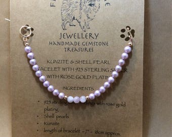 Kunzite and shell pearl with rose gold plated solid 925 sterling silver toggle clasp and beads