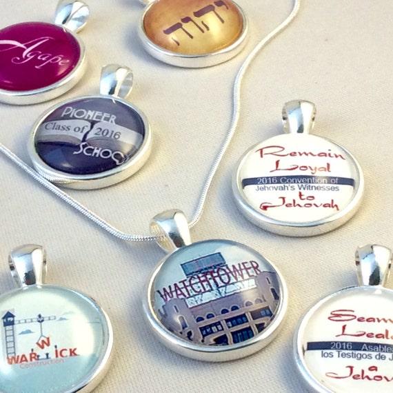"JW Circle Pendant -Choice of design: Watchtower Sign, Warwick, Pioneer School, Beautiful Feet, Etc.  18"" chain, Blue Velvet Gift Bag. #12"