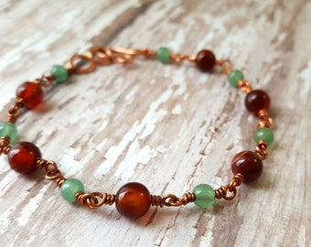 Red Agate and Green Aventurine Bracelet - Gemstone Bracelet - Stackable Bracelet - Copper Wire Bracelet - Wire Wrapped - Natural - Boho