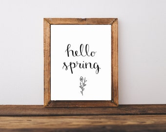 Hello Spring Printable |  Hand Lettered Printable | Hand Lettered Art | Printable | Minimalist Art | Flower | Spring Art | Wall Art