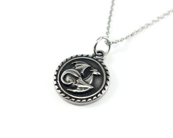 Stainless Steel Dragon Necklace, Winged Dragon Jewelry, Stainless Steel Jewelry, Round Dragon Charm Necklace, Silver Dragon Pendant Necklace