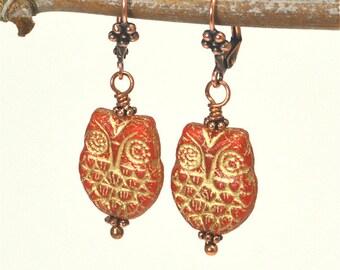 Red Czech Glass Owl Earrings