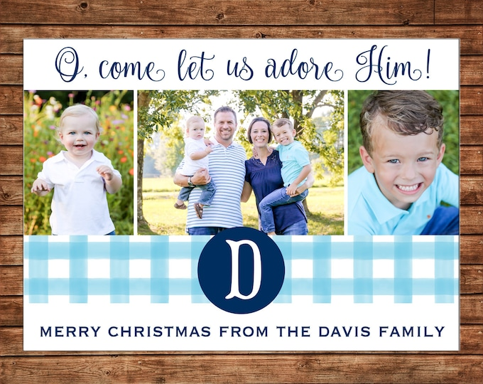 Christmas Holiday Photo Card Blue Gingham Monogram  - Can Personalize - Printable File or Printed Cards