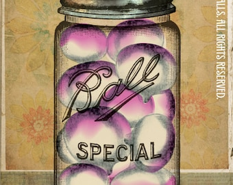 "Canning Ball Jar Purple White Turnips Gold Wallpaper Putting Up The Season Series Large 16"" x 20"" Canvas Wrapped Frame: Turnips"