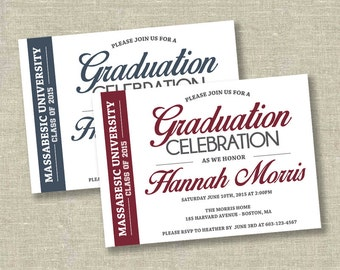 Graduation invitation, college graduation invitation, high school graduation invitation, navy graduation invitation, burgundy graduation