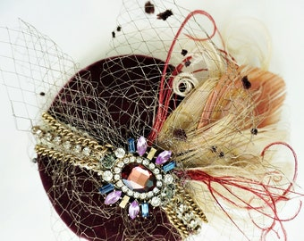 Burgundy Velvet Vintage Jeweled Bleached Peacock Feather Fascinator