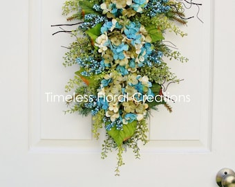 "Wreath Swag with Hydrangeas for Your Door~""Seaside Sand""~Floral Teardrop Swag, Winter, Spring, Summer, Fall~Timeless Floral Creations"