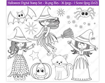 Halloween Digital Stamps,Witch Digital Stamps,Halloween Stamps,Digital Stamps,Halloween Clipart,Witch Clipart,Scrapbooking,Commercial Use