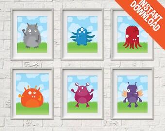 Monsters printable Nursery Art set - instant download print artwork for Baby or Kids Bedroom - 8x10