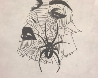 Femme Fatale (Spiderweb Black and White Illustration)