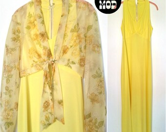 Pretty Boho Vintage 60s 70s Yellow Maxi Dress with Floral Tie Top!