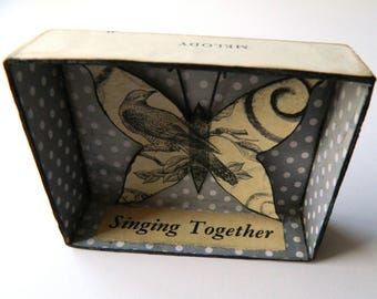 Butterfly Shadow Box, Choir Gift, Assemblage Art, Small Art, Singing Gift, Birds and Butterflies, Gift for Friend, Gifts For Singers