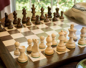 Wooden chess set | chess board with wooden chess pieces | walnut and maple chess board