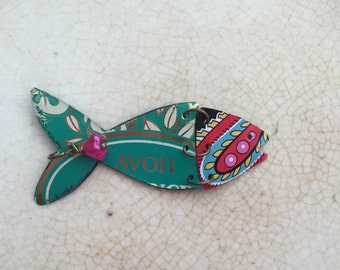 "Tin Jewelry Fish Necklace ""Fish Out of Water"" #10 Tin for the Ten Year Tenth Wedding Anniversary"
