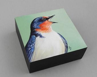 Barn Swallow bird art - swallow painting - spring songbird painting - gift for birdwatcher - birdwatching art - realistic nursery decor