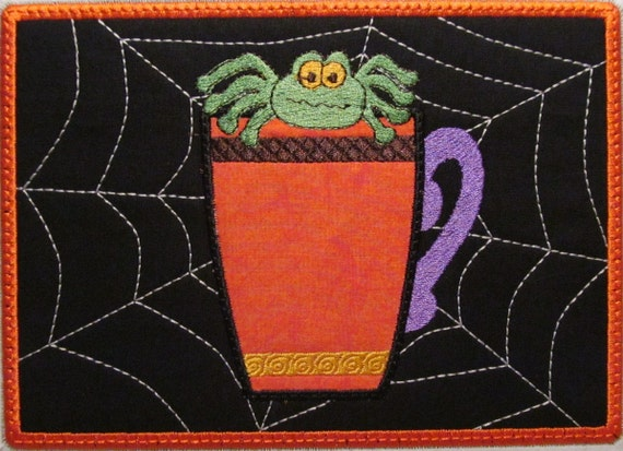 Machine Embroidery Design ITH Mug Rug Applique Coffee Cup