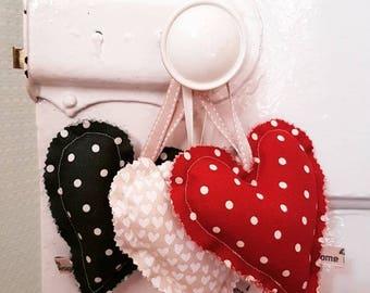 Hanging fabric hearts