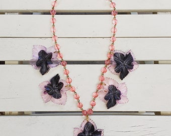 1940's vintage celluloid necklace - leaves - pink and black