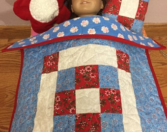 18 inch doll quilt and pillows