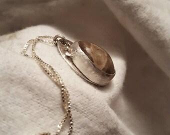Michigan Petoskey Stone Pendant Necklace Sterling Silver