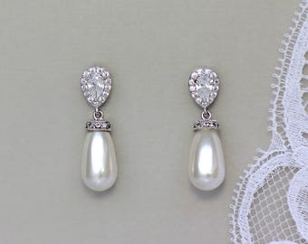 Bridal Earrings, Pearl Drop Earrings, Pearl Bridal Earrings, Ivory Pearl Earrings, Silver Earrings, AUDREY 2