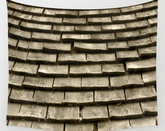 Wooden Roof Shingles, Wall Tapestry, Architectural Photography, Sepia, Brown, Country Art, Home Decor, Interior Design, Lake, Country Living