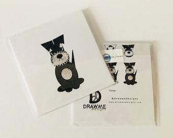 Schnauzer Dog Greeting card by DrawMe Designs