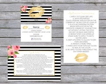 LipSense Business Card - SenegGence Business Card Bundle Gold/Black/Pink Flower