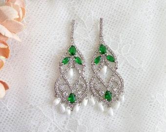 Wedding earrings, green bridal earrings, Bride chandalier Earrings, green wedding earrings, CZ earrings, bridal jewelry, St Patrick earrings
