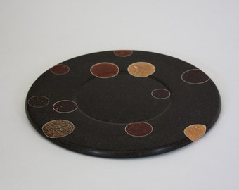 Recycled Coffee And Colored Egg Plate, Recycled Crafts, Handmade woodturning, Innovative material, Natural art