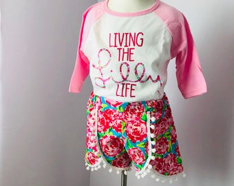 Lilly Life tee and Festival pom short set