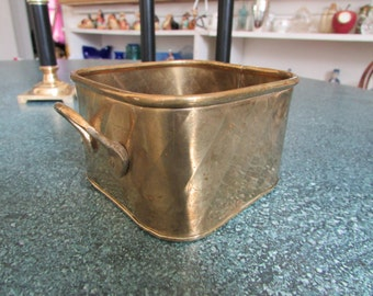 Vintage Square Brass Planter Container / Basket W/ Ripple design