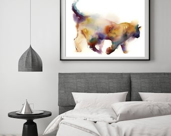 Cat Art Print, Rainbow Colors Cat Watercolor Painting print, cat art, colorful cat wall art print, modern cat giclee print