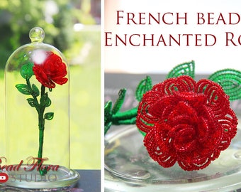 Pattern - French beaded enchanted rose tutorial and pattern - pdf