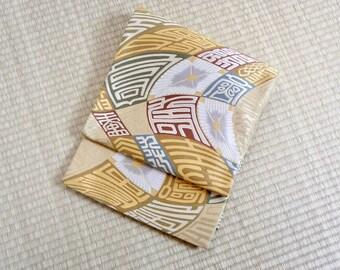 Gold modern pattern fukuro obi, white gold metallic Fukuro obi, vintage silk obi belt, Japanese kimono kanji fukuro obi, flawless kimono obi