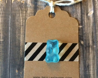 Blue Gummy Bear Lapel Pin - Realistic Resin Faux Candy - Tack Backing with Clutch Clasp