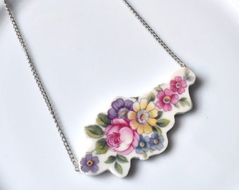 Cut Out Recycled China Necklace - Pink Yellow Purple Flower