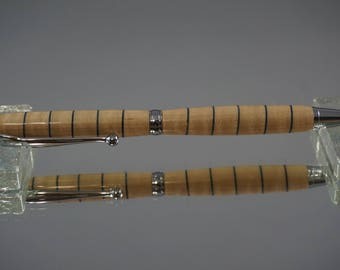 Slimline Funline Twist Pen, Ballpoint, Chrome -- Curly Maple/Blue Veneer