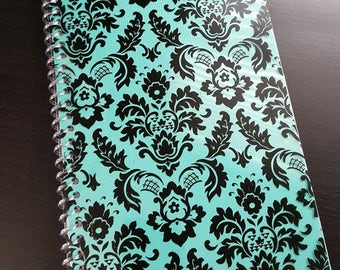 Teal Damask Lined Journal (with front pocket)