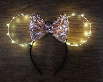 Light Up Minnie Mouse Ears, Rose Gold Minnie Ears, Mouse Ears, Minnie Mouse Ears, Minnie Ears, Lightup Minnie Ears