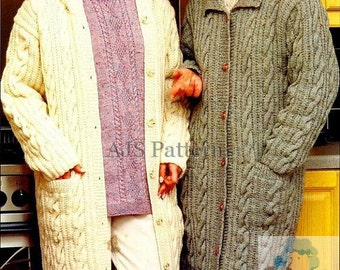 PDF Knitting Pattern - Ladies Long Length Aran Coats Hooded or a Collar - Larger Sizes Included - Instant Download